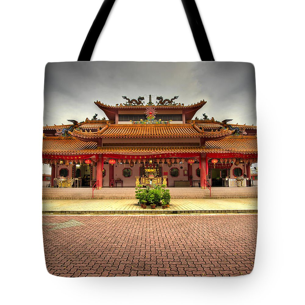 Chinese Tote Bag featuring the photograph Chinese Temple Paved Square by David Gn