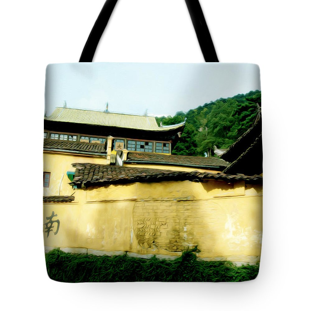 Anhui Province Tote Bag featuring the photograph Chinese Temple by Tracy Winter