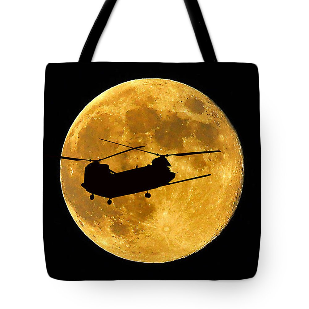 Ch-47 Chinook Tote Bag featuring the photograph Chinook Moon Color by Al Powell Photography USA