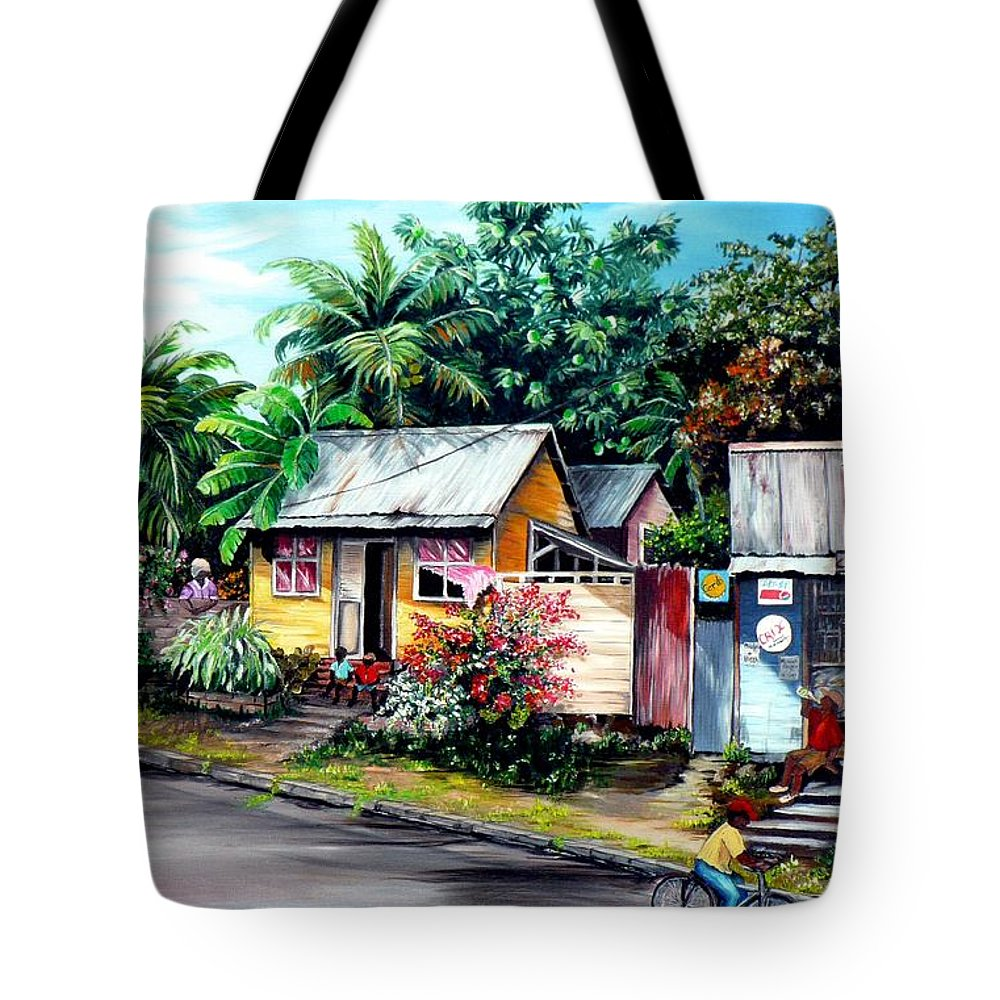 Landscape Painting Caribbean Painting Shop Trinidad Tobago Poinciana Painting Market Caribbean Market Painting Tropical Painting Tote Bag featuring the painting Chins Parlour   by Karin Dawn Kelshall- Best