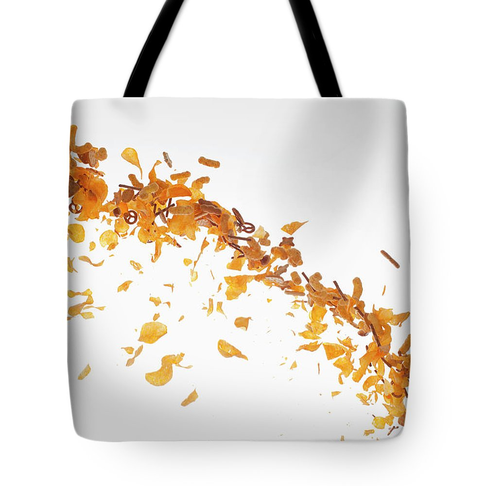 Curve Tote Bag featuring the photograph Chips, Pretzels And Savory Snacks by Dual Dual
