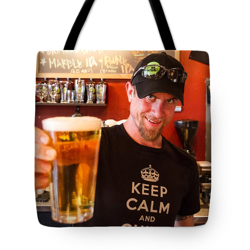 Breweries Tote Bag featuring the photograph Chive On At Santa Fe Brewery by James Gordon Patterson