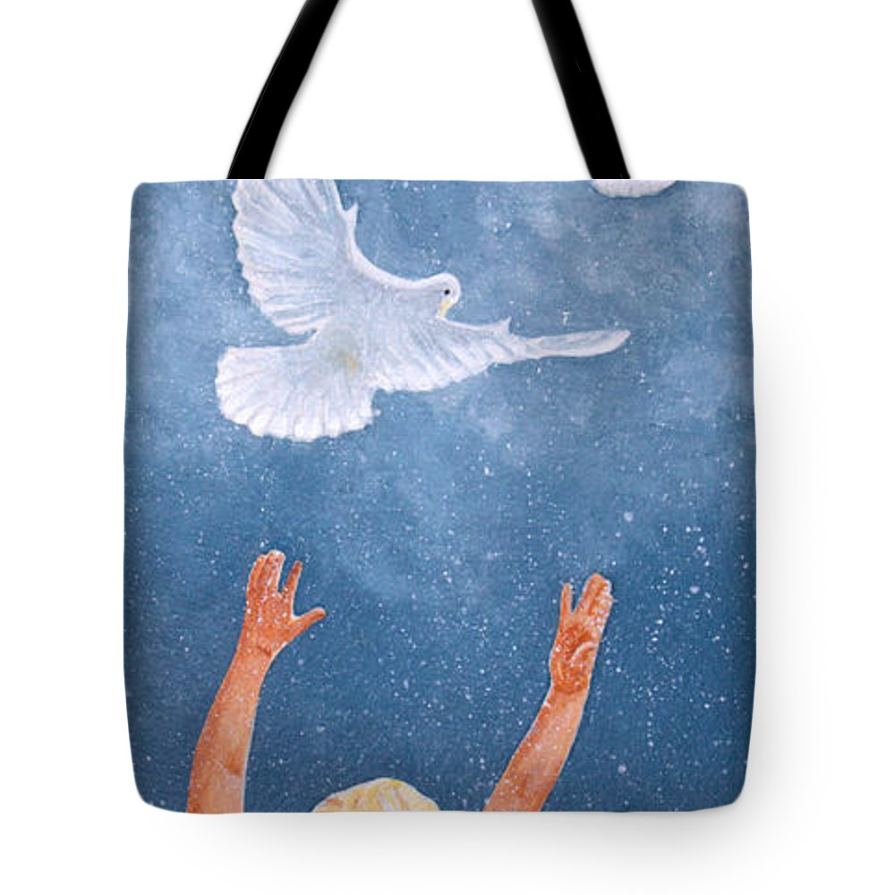 Dove Tote Bag featuring the painting Chloe's World by Kimberly Shinn