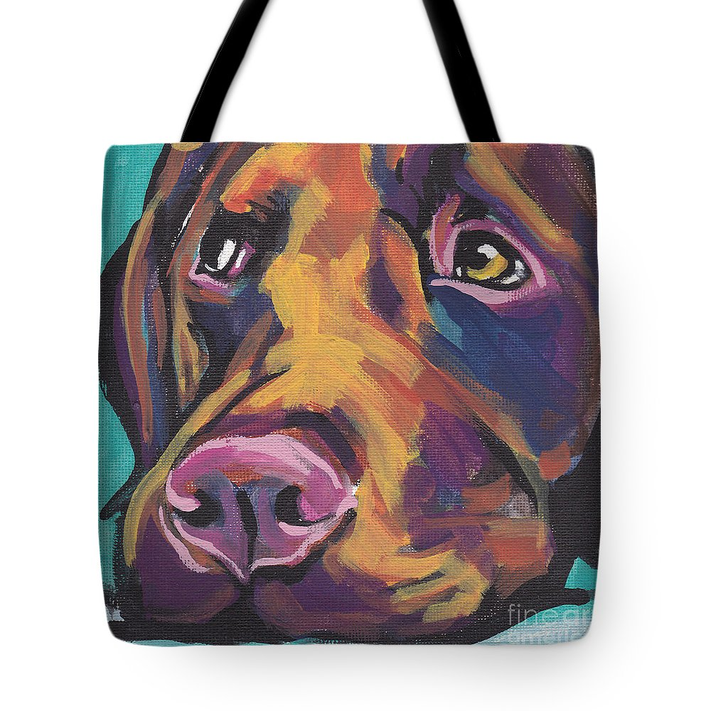 Labrador Retriever Tote Bag featuring the painting Choco Lab Love by Lea S