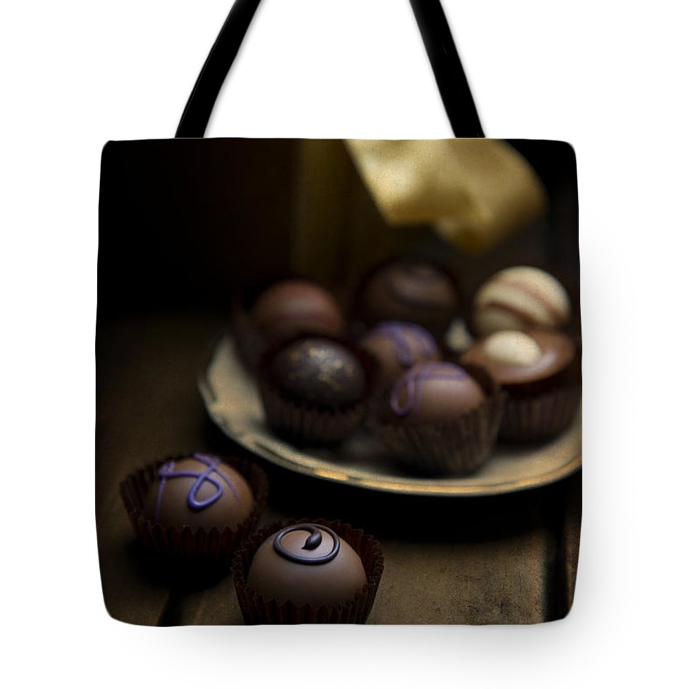 Choco Tote Bag featuring the photograph Chocolate Pralines by Jaroslaw Blaminsky