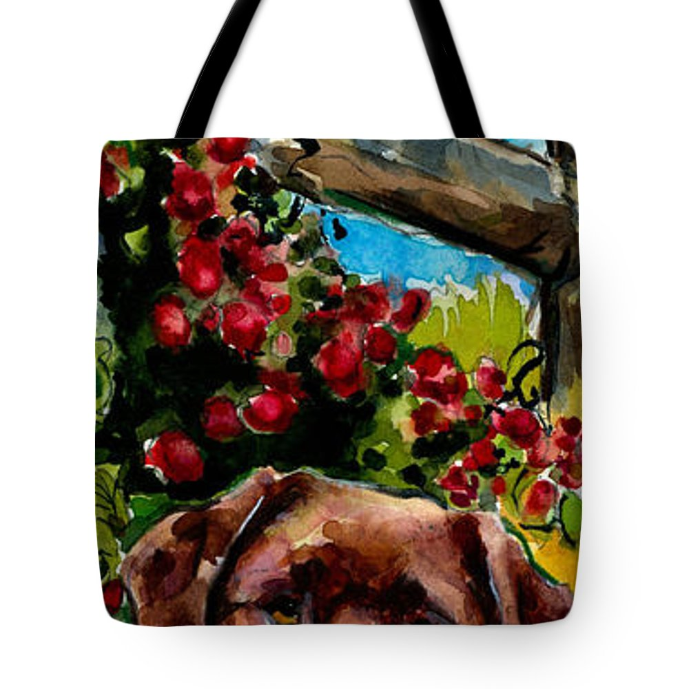 Chocolate Labrador Retriever Tote Bag featuring the painting Chocolate Raspberry Fields by Molly Poole