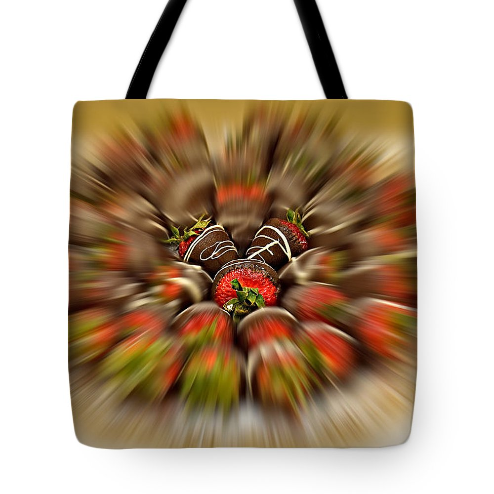 Strawberry Tote Bag featuring the photograph Chocolate Strawberry Rush by Susan Candelario