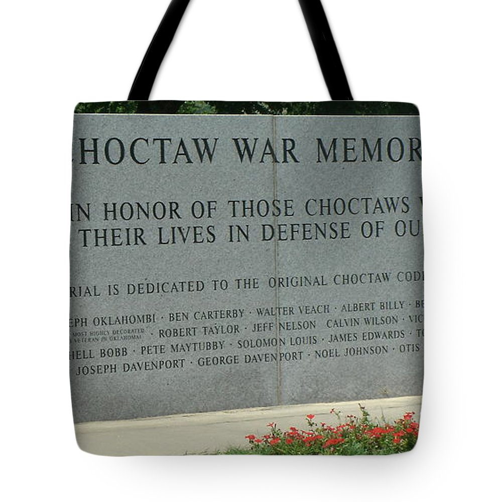 085432671f Choctaw Tote Bag featuring the photograph Choctaw War Memorial by Jackie  Austin