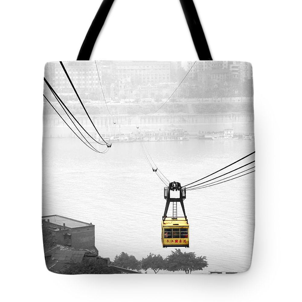 Cable Car Tote Bag featuring the photograph Chongqing Cable Car by Valentino Visentini