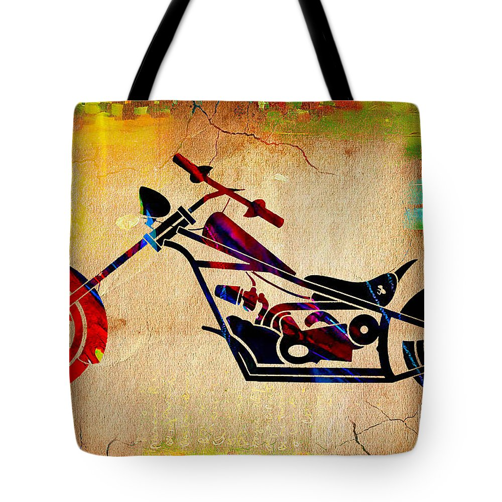 Motorcycle Tote Bag featuring the mixed media Choper Art by Marvin Blaine