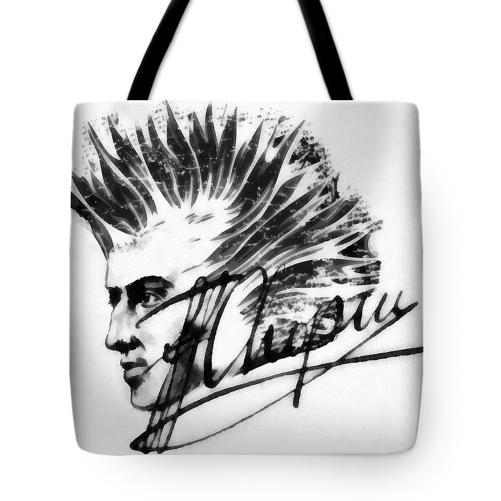 Chopin 2 Tote Bag featuring the painting Chopin 2 by Mo T