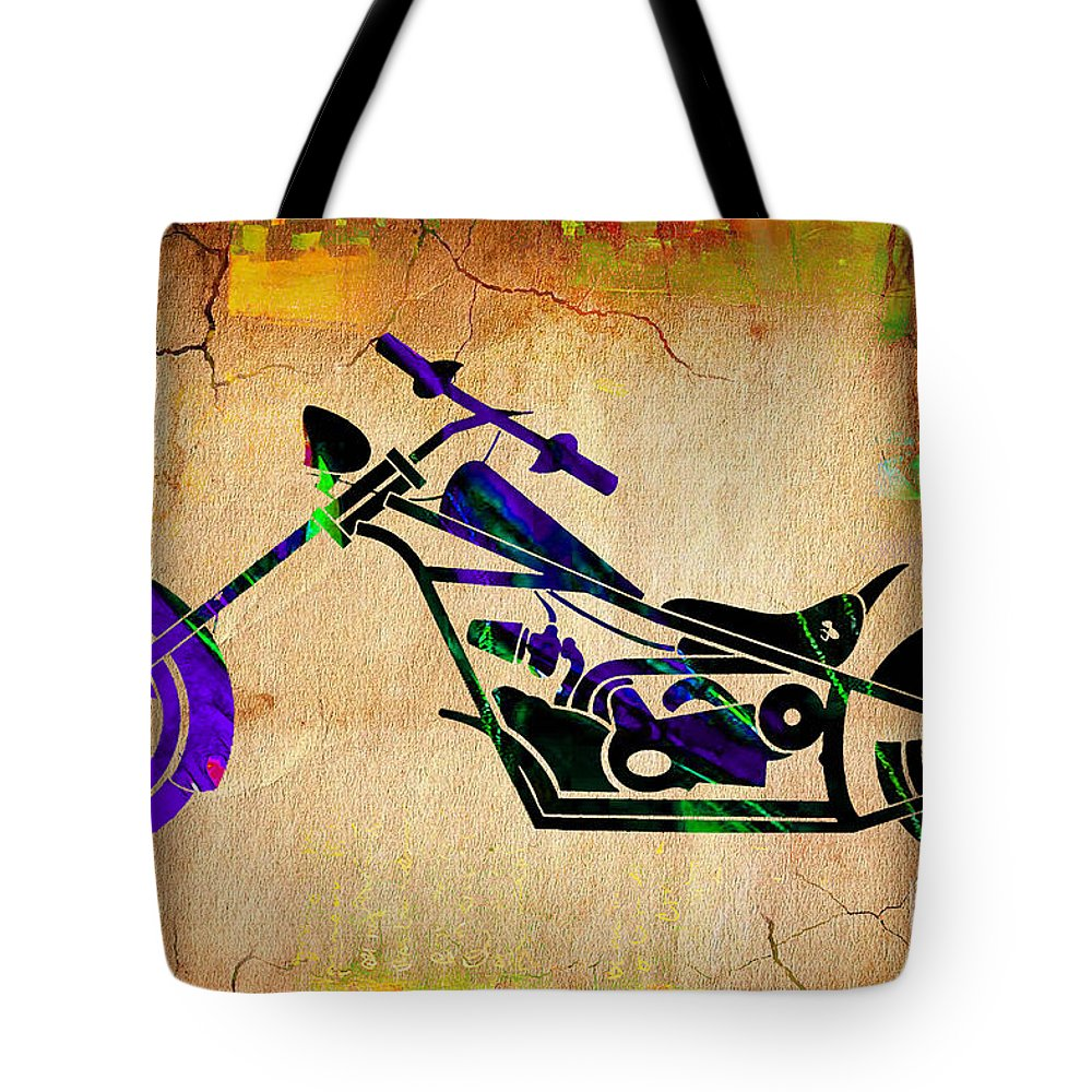 Motorcycle Tote Bag featuring the mixed media Chopper Motorcycle Painting by Marvin Blaine