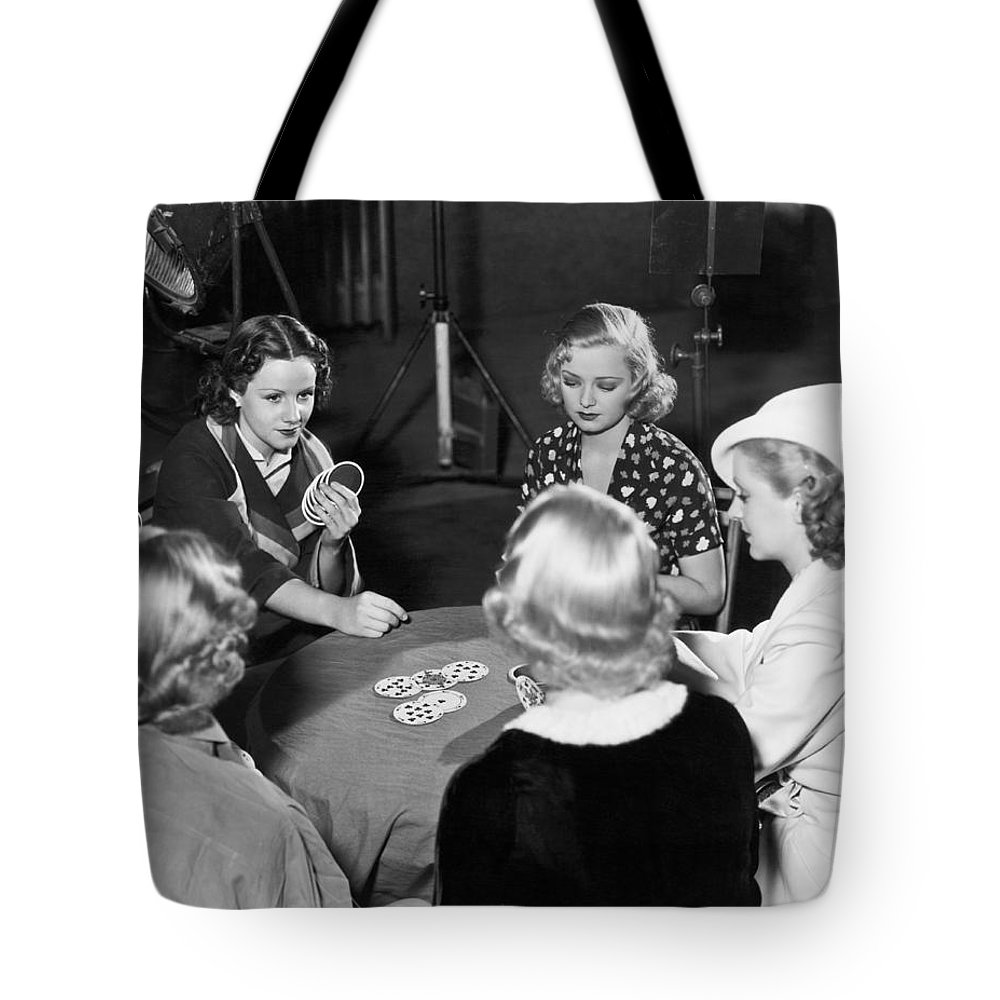 1930s Tote Bag featuring the photograph Chorus Girls Playing Hearts by Underwood Archives