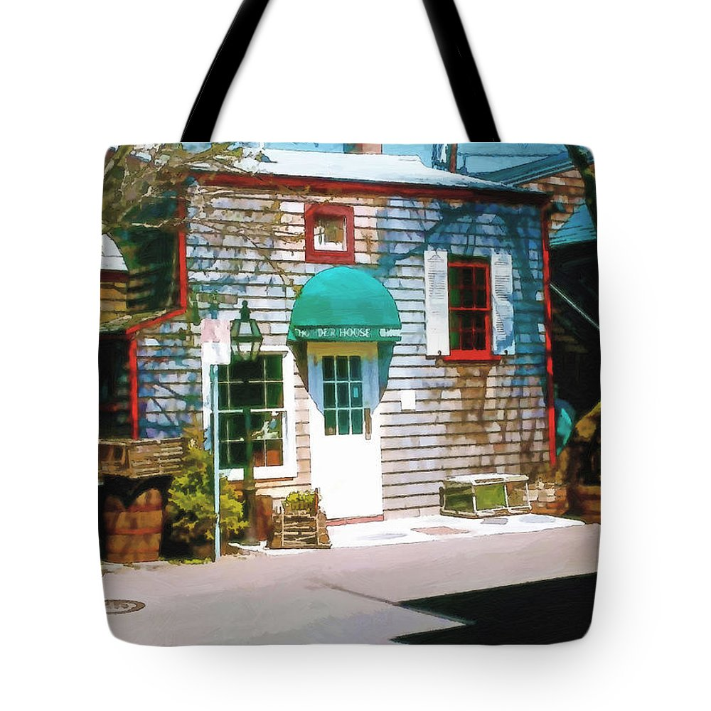 Chowder Tote Bag featuring the digital art Chowder House Rockport Ma by Pachek