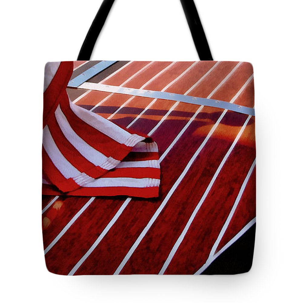 Classic Boat Tote Bag featuring the photograph Chris Craft With American Flag by Michelle Calkins
