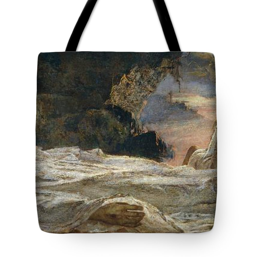 Painting; 19th Century Painting; 20th Century; Europe; Italy; Mary Of Magdala; Prati Eugenio; Lament Over The Dead Christ; Symbolism Tote Bag featuring the painting Christ And Mary Magdalene by Eugenio Prati