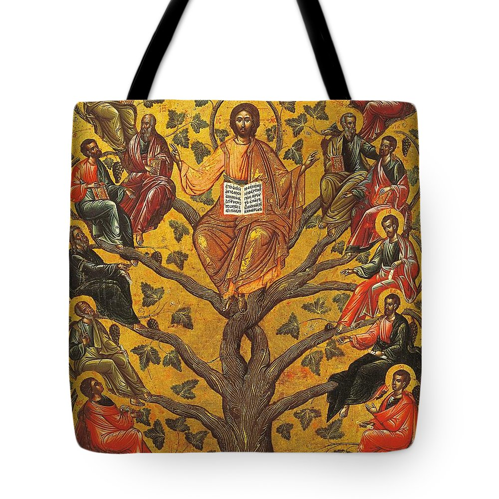 Religions; Son Of God Tote Bag featuring the painting Christ And The Apostles by Unknown