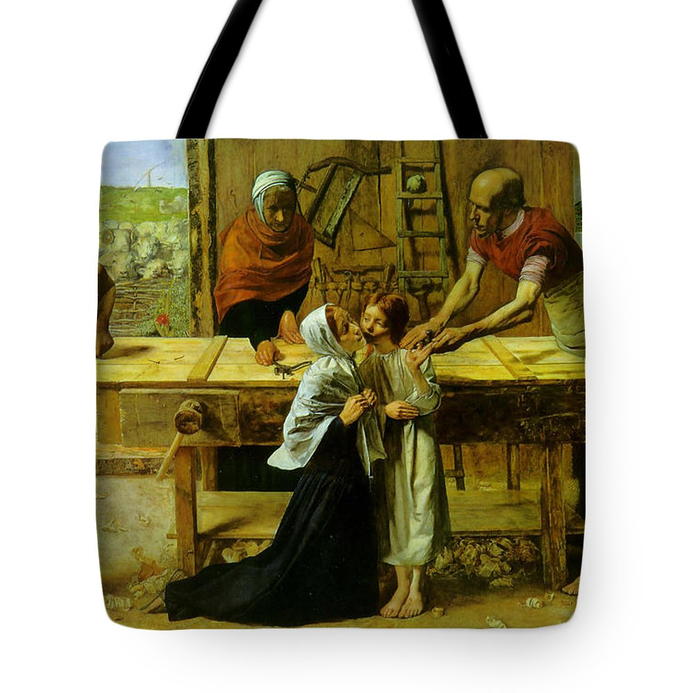 Christ In The House Of His Parents Tote Bag featuring the digital art Christ In The House Of His Parents by John Everett Millais
