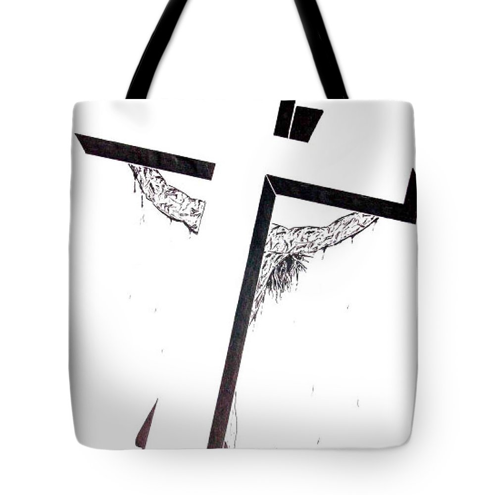 Christ Tote Bag featuring the drawing Christ On Cross by Justin Moore