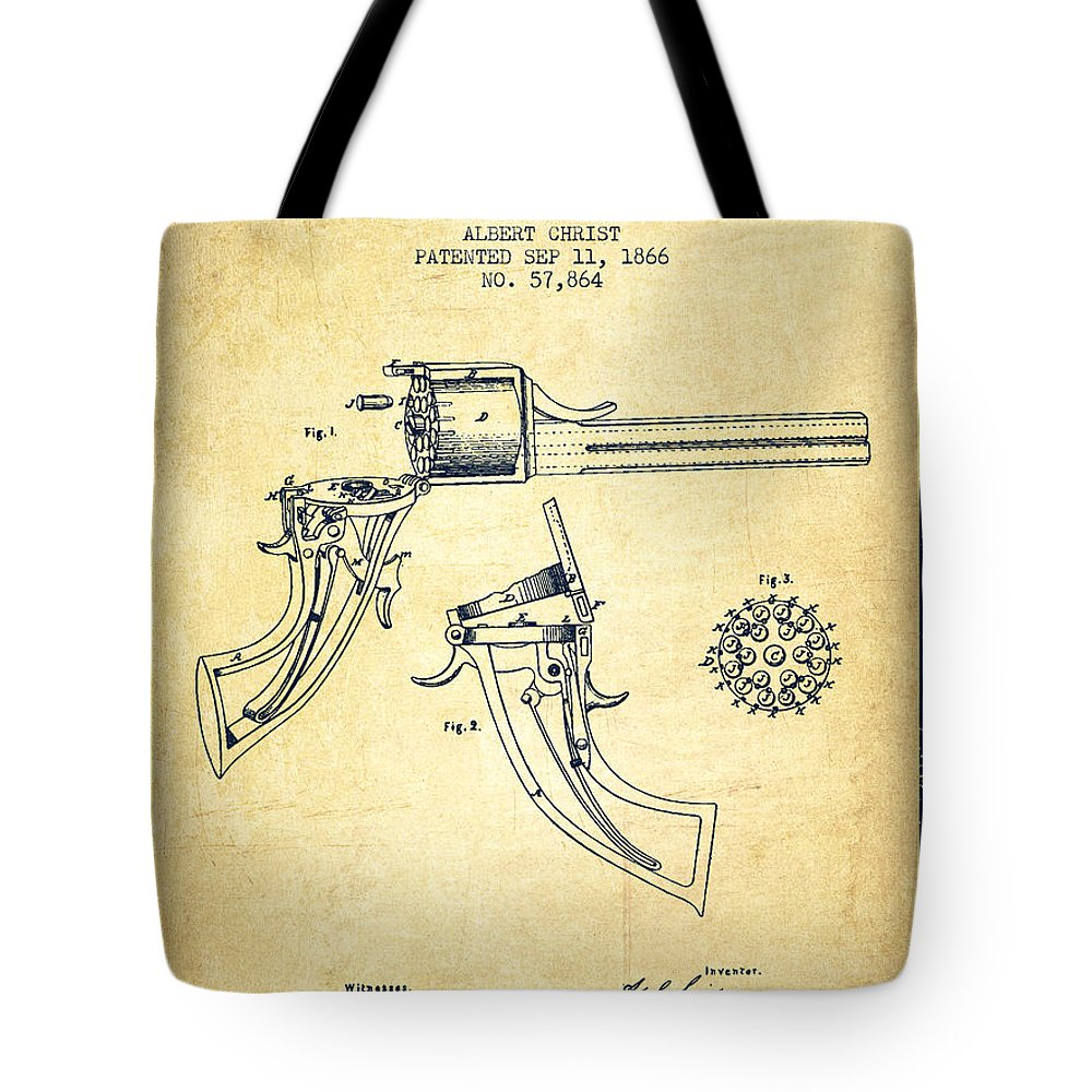 Pistol Patent Tote Bag featuring the digital art Christ Revolver Patent Drawing From 1866 - Vintage by Aged Pixel