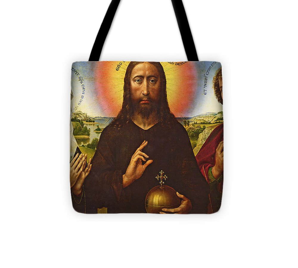 Jesus Tote Bag featuring the painting Christ The Redeemer With The Virgin And St. John The Evangelist, Central Panel From The Triptych by Rogier van der Weyden