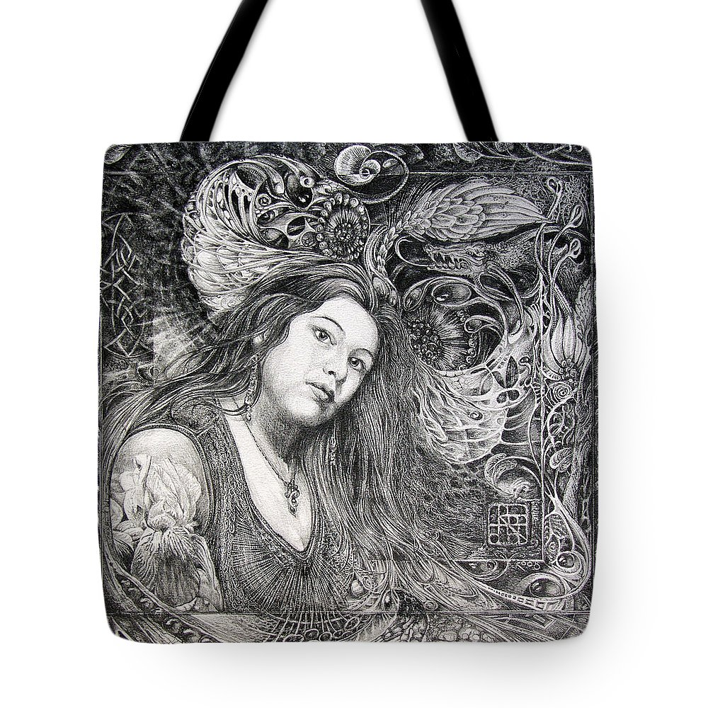 Portrait Tote Bag featuring the drawing Christan Portrait by Otto Rapp