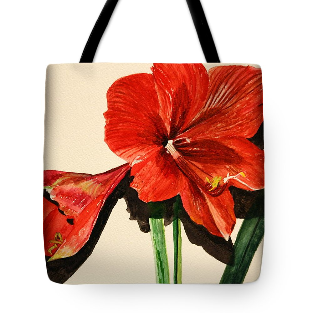 Amaryllis Tote Bag featuring the painting Christmas Amaryllis by Betty-Anne McDonald