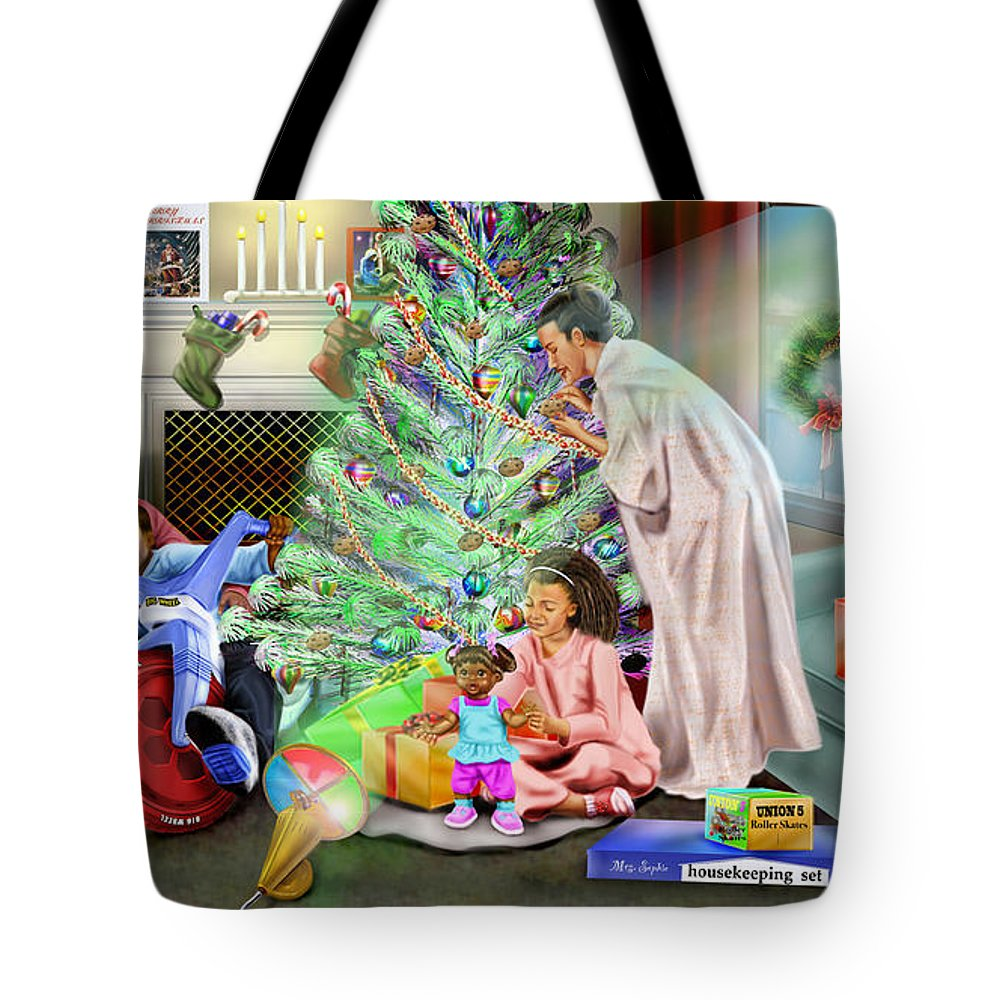 Christmas Tote Bag featuring the painting Christmas Back In Da Day by Reggie Duffie