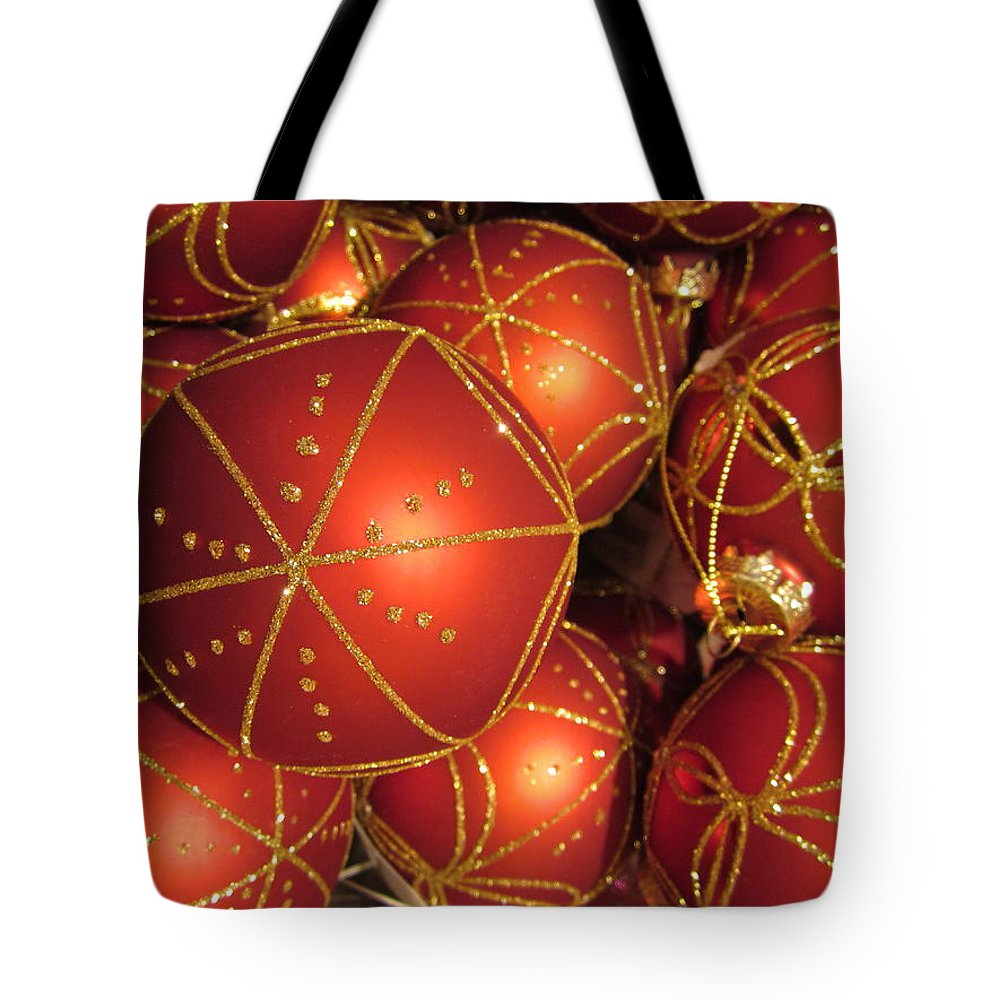 Christmas Card Tote Bag featuring the photograph Christmas Balls In Red And Gold by Rosita Larsson