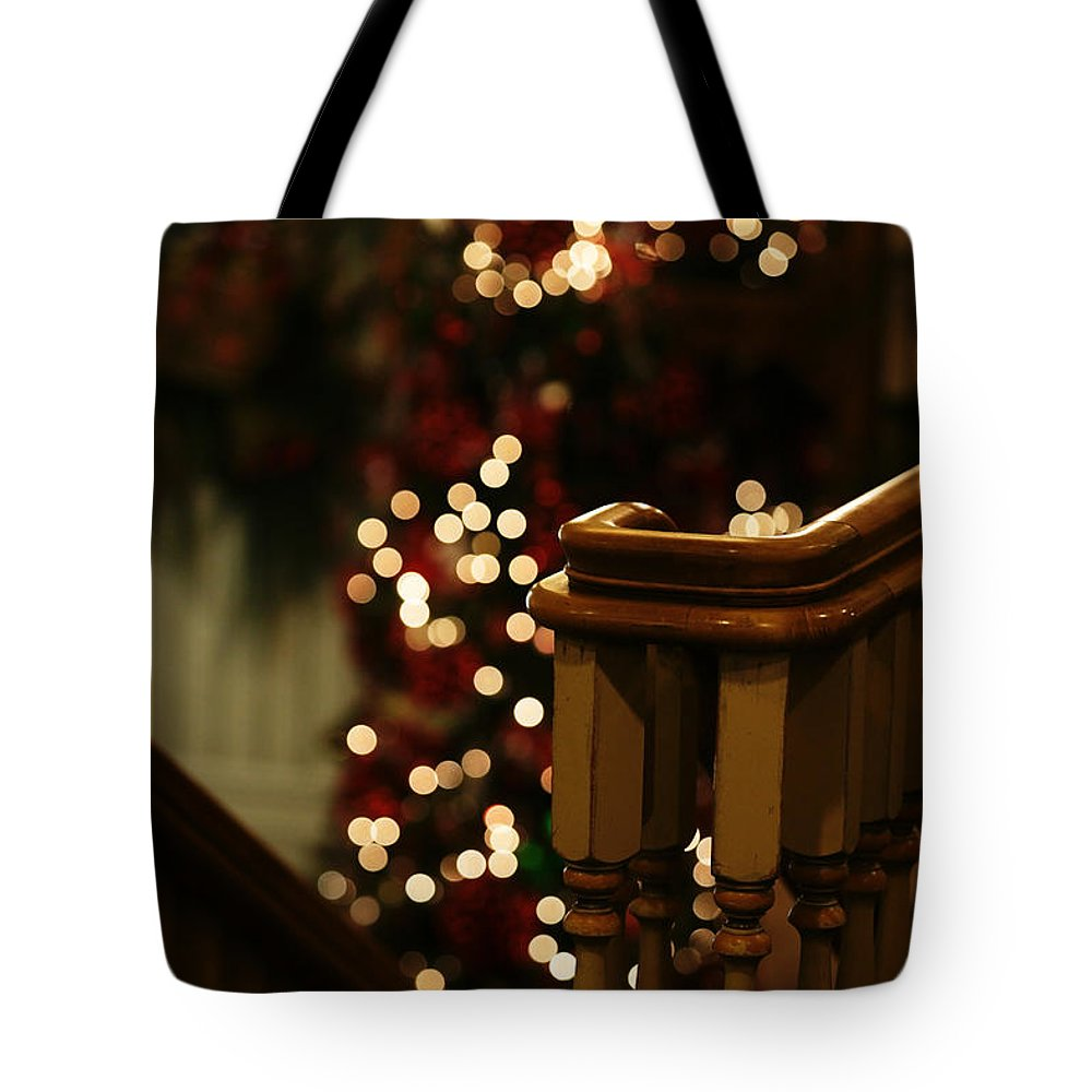 Christmas Tote Bag featuring the photograph Christmas Banister 1 by Linda Shafer