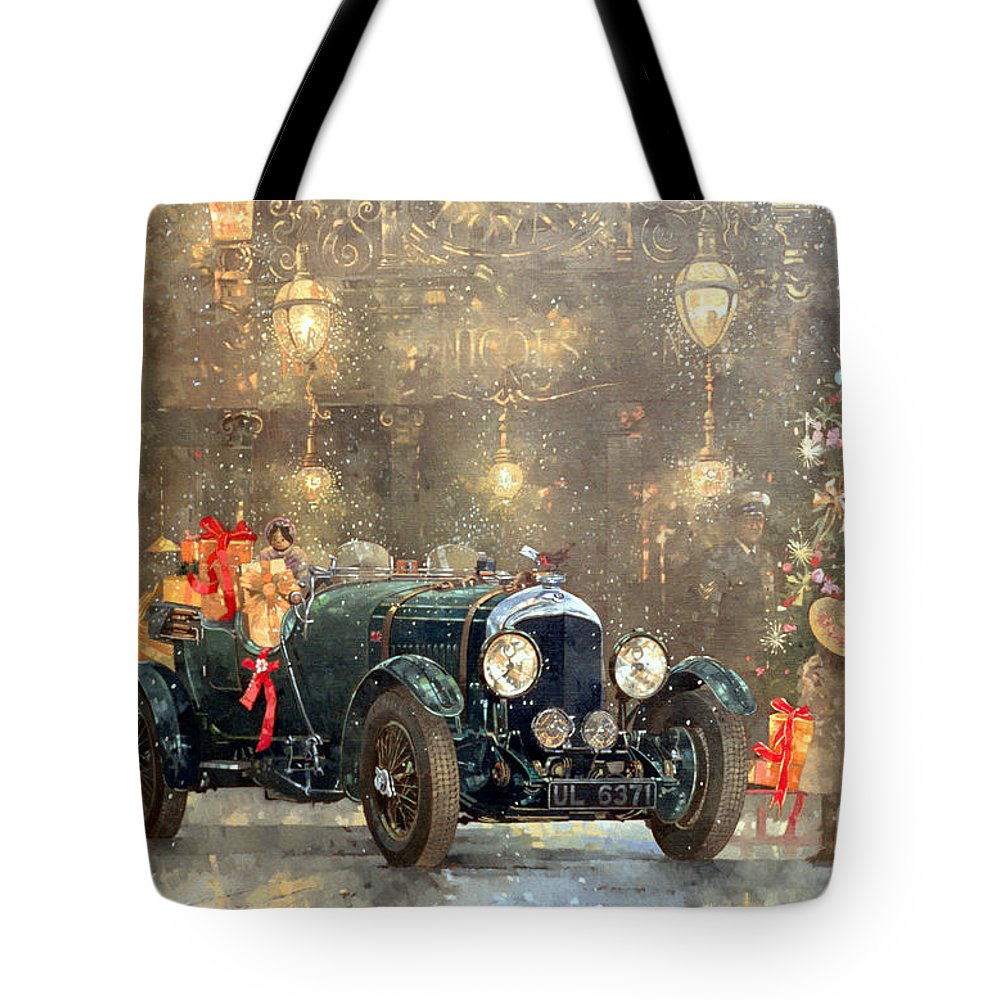Motor Car Tote Bag featuring the painting Christmas Bentley by Peter Miller