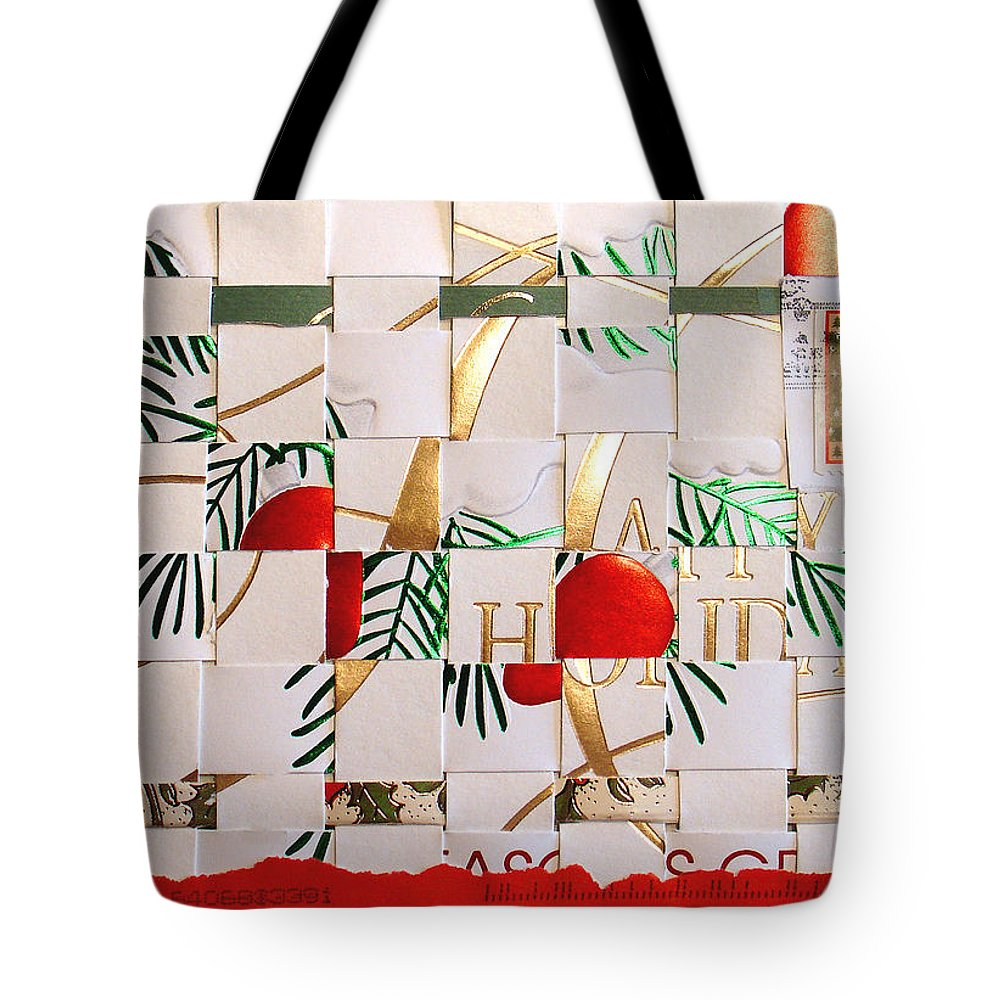 Christmas Tote Bag featuring the mixed media Christmas Card Abstract by Steve Karol