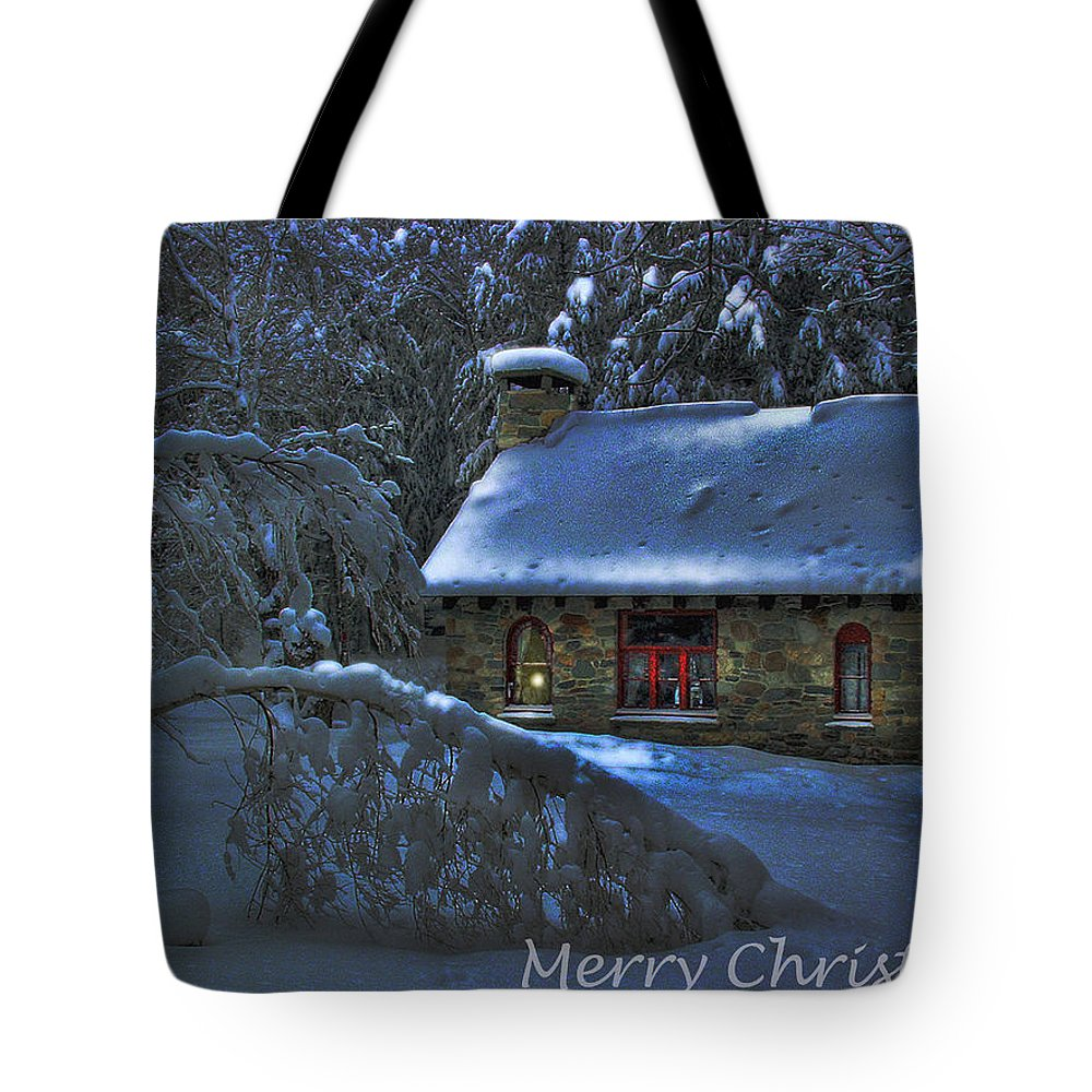Christmas Card Moonlight On Stone House Tote Bag featuring the photograph Christmas Card Moonlight On Stone House by Wayne King