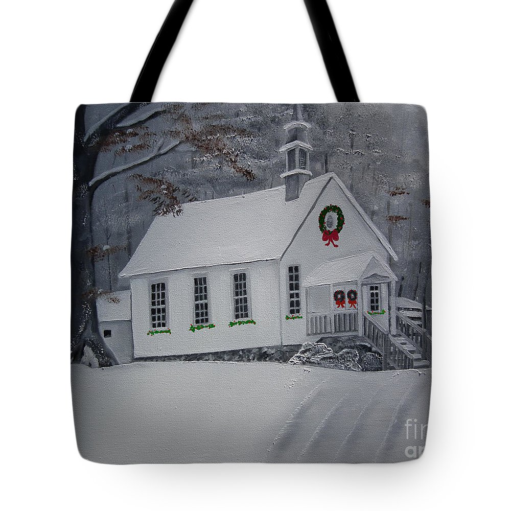 Christmas Tote Bag featuring the painting Christmas Card - Snow - Gates Chapel by Jan Dappen