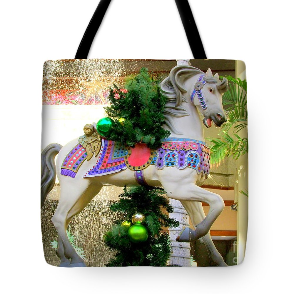 Carousel Tote Bag featuring the photograph Christmas Carousel Horse With Pine Branch by Mary Deal