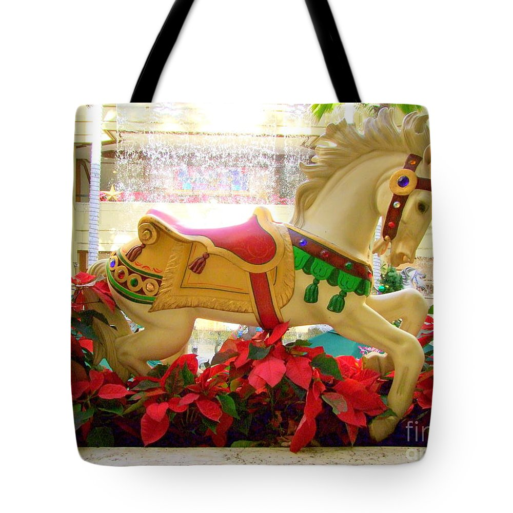 Carousel Tote Bag featuring the photograph Christmas Carousel Horse With Poinsettias by Mary Deal