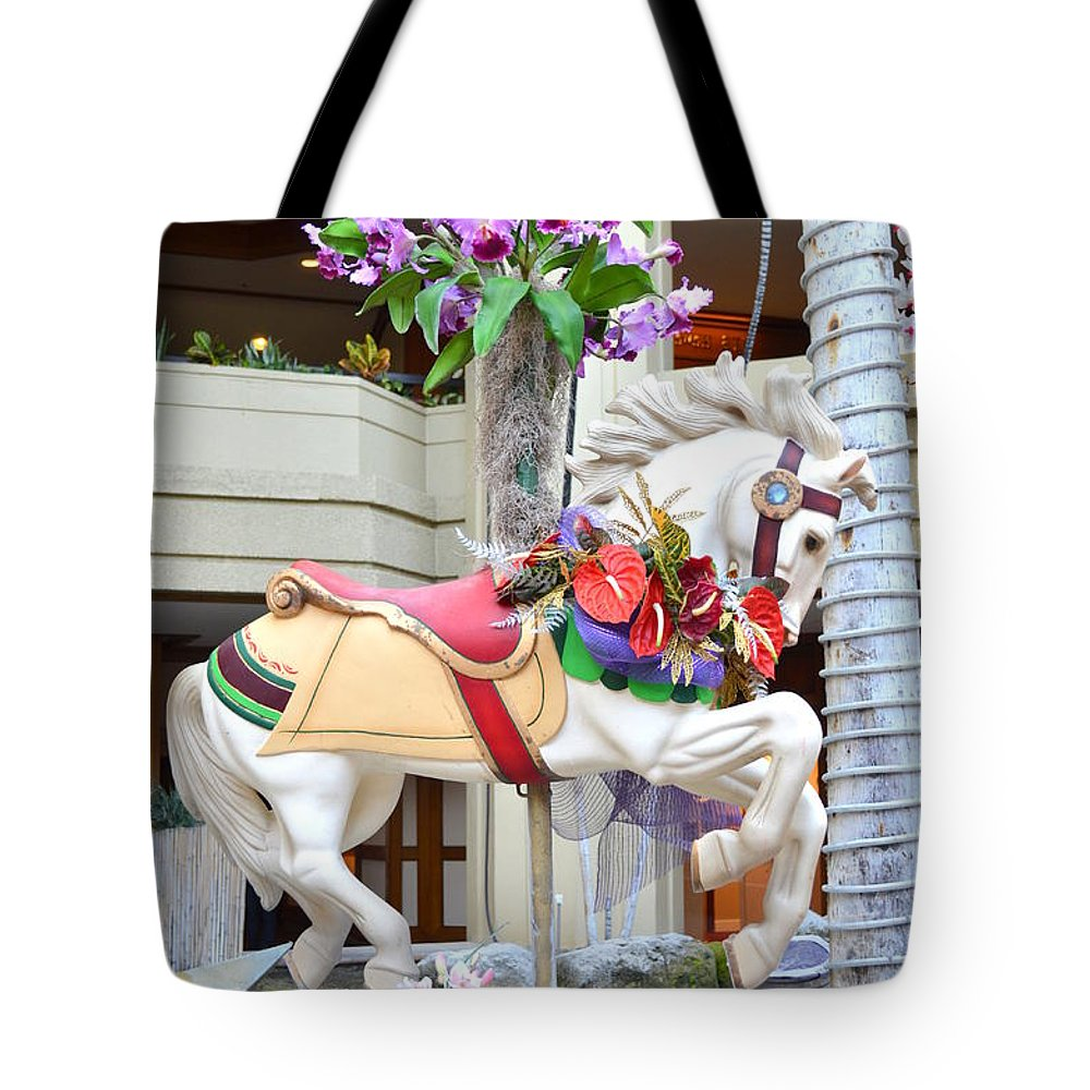 Christmas Tote Bag featuring the photograph Christmas Carousel White Horse by Mary Deal