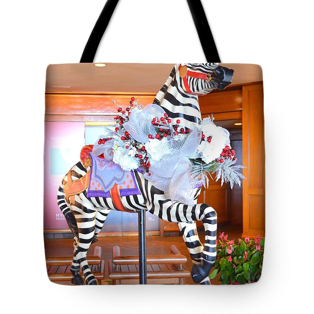 Christmas Carousel Zebra Tote Bag featuring the photograph Christmas Carousel Zebra by Mary Deal