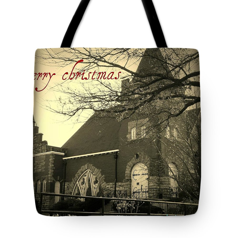 Christmas Tote Bag featuring the photograph Christmas Chapel by Chris Berry