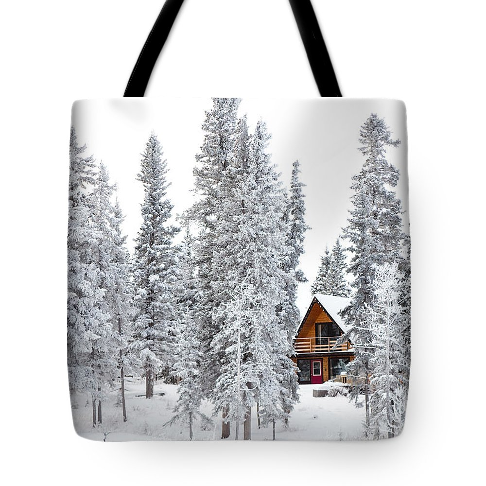 Adventure Tote Bag featuring the photograph Christmas Cottage In Winter Wonderland by Stephan Pietzko