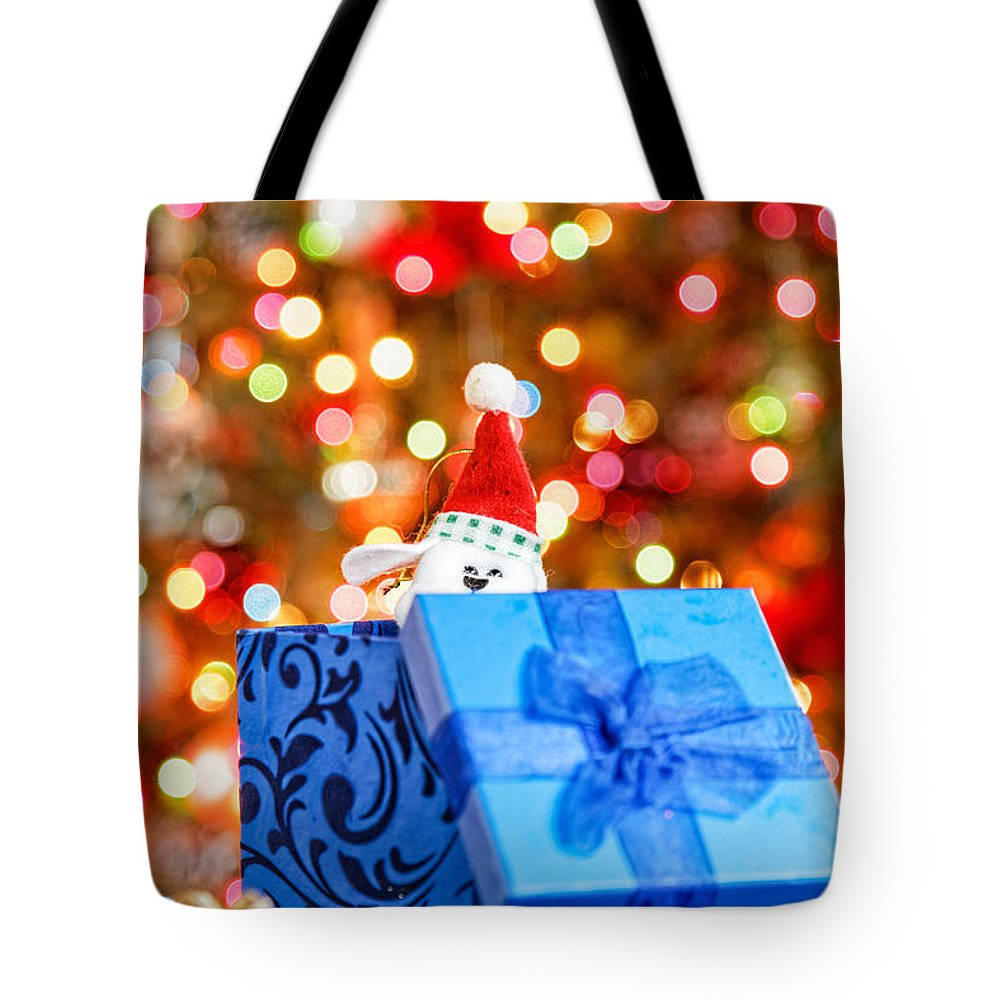 Background Tote Bag featuring the photograph Christmas Dog In Bx by Peter Lakomy