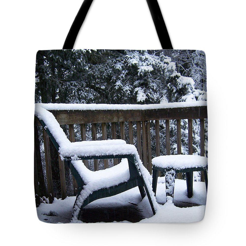 Snow Tote Bag featuring the photograph Christmas Eve Deck Chair by Blythe Ayne