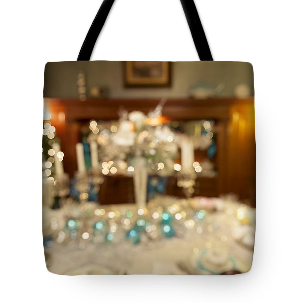 Christmas Tote Bag featuring the photograph Christmas Holiday Dinner Table Decoration Blurred by Jit Lim