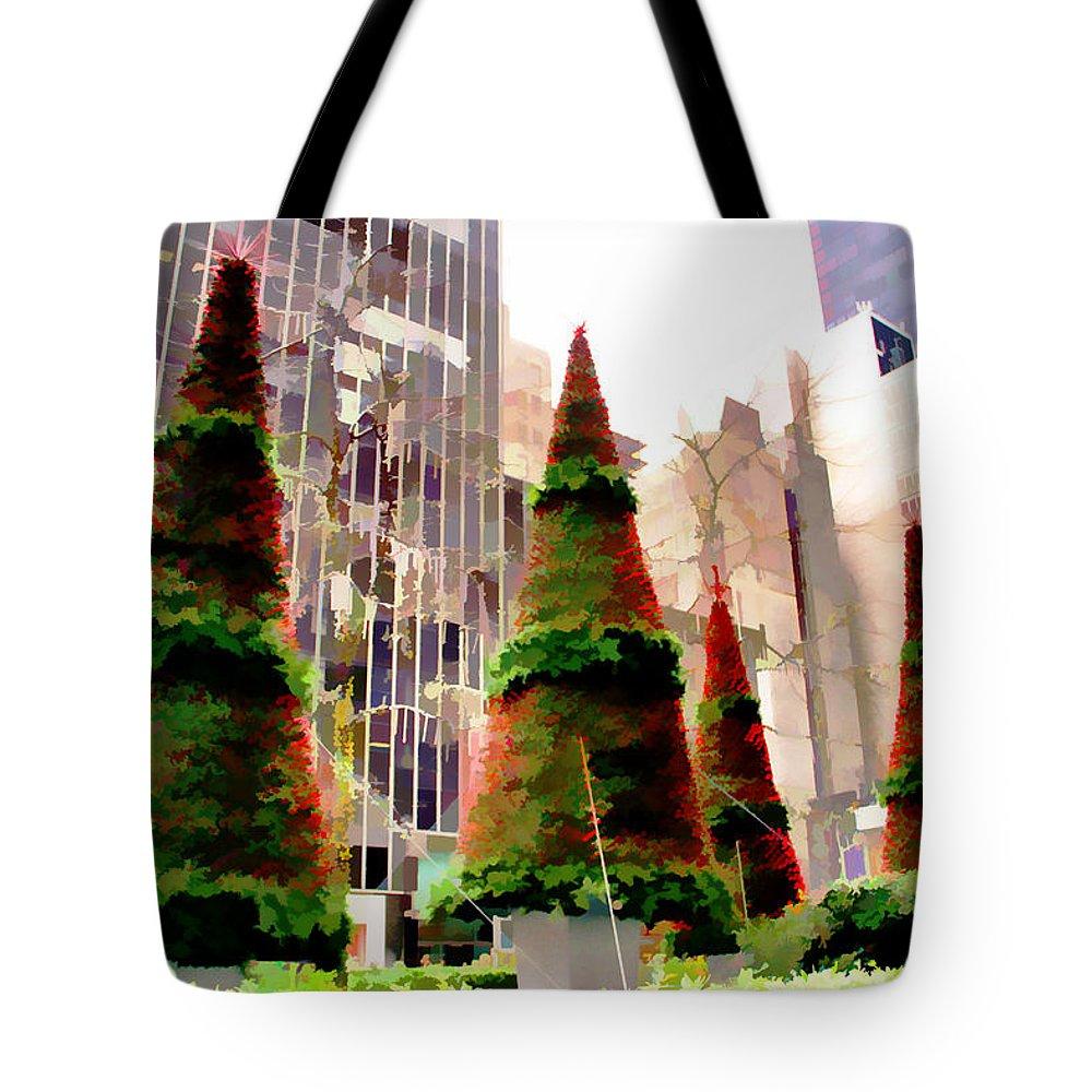 Christmas Trees New York City Tote Bag featuring the photograph Christmas In New York City by Alice Gipson