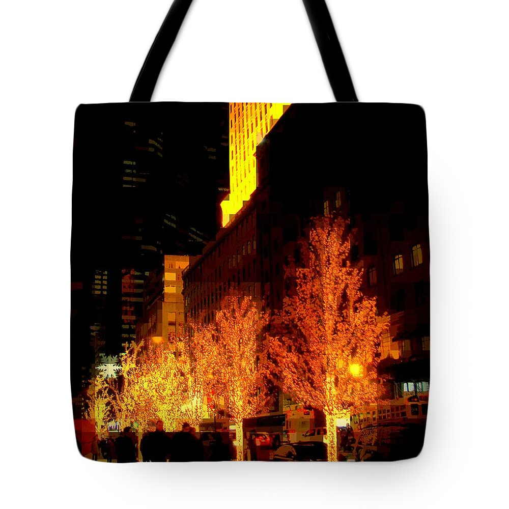 Abstract Tote Bag featuring the photograph Christmas In New York - Trees And Star by Miriam Danar