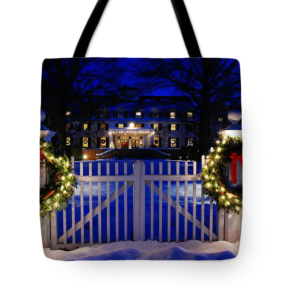 Woodstock Tote Bag featuring the photograph Christmas In The Country by James Kirkikis