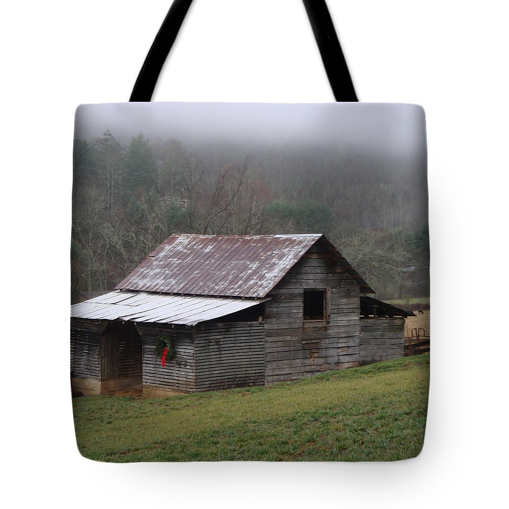 Barn Tote Bag featuring the photograph Christmas in the Mountains by Jean Blackmer