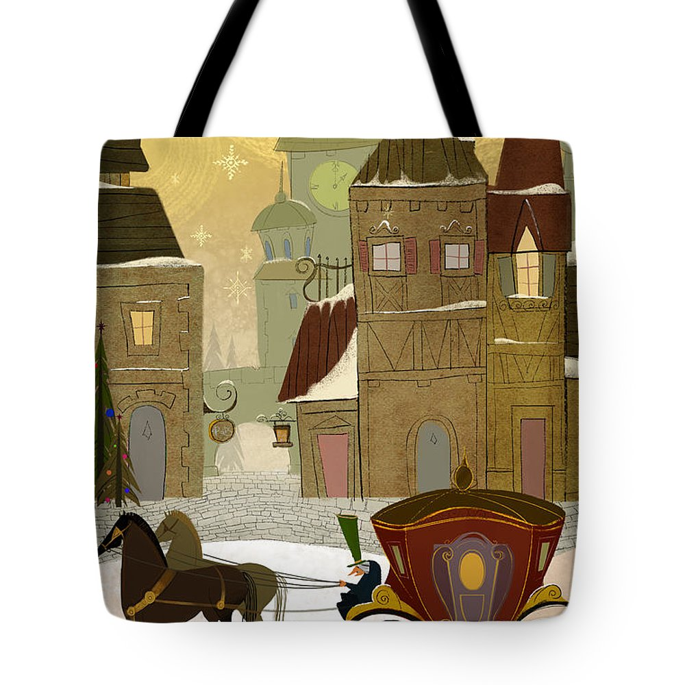 Horses Tote Bag featuring the painting Christmas In The Old World by Kristina Vardazaryan