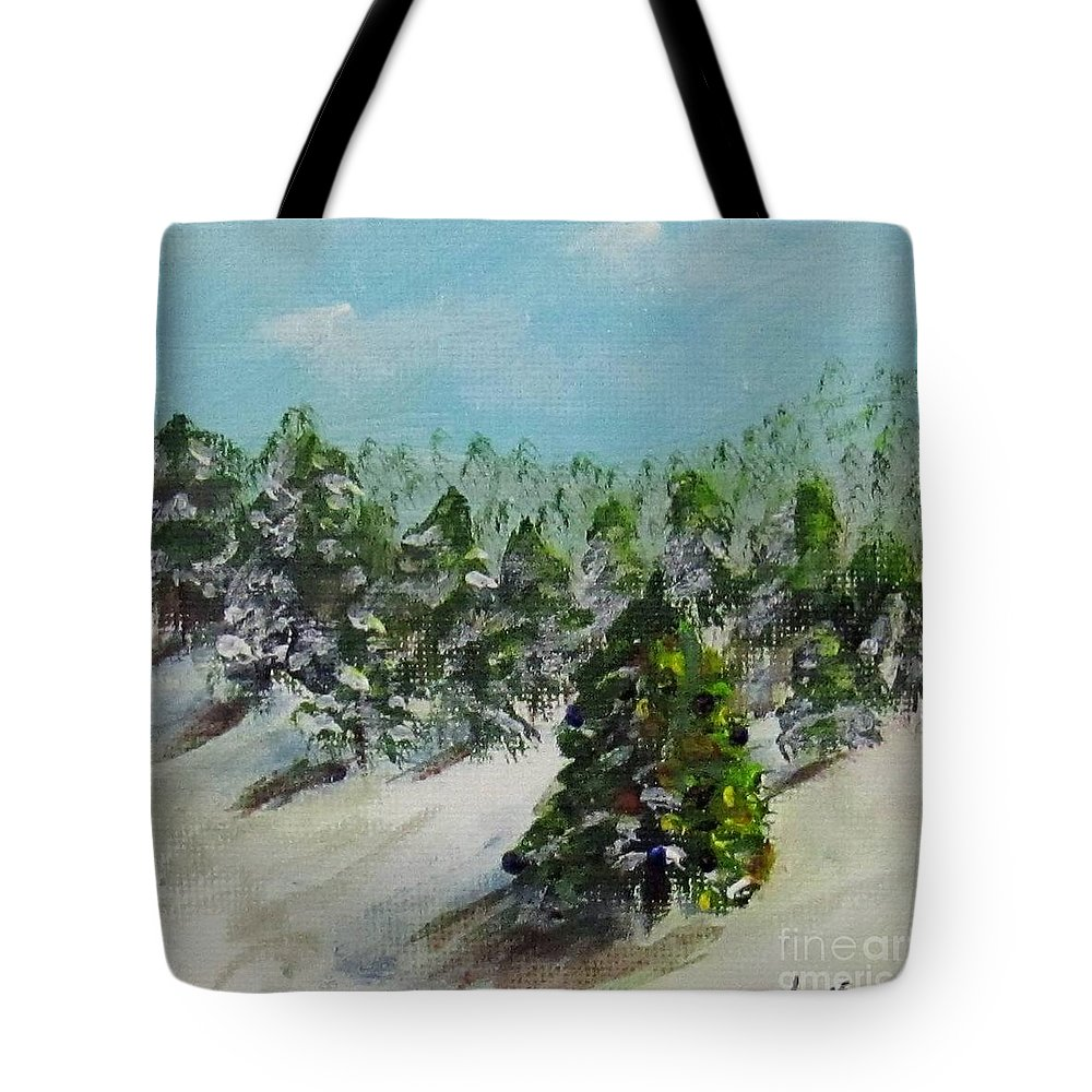 Christmas Tote Bag featuring the painting Christmas Mountain by Laurie Morgan