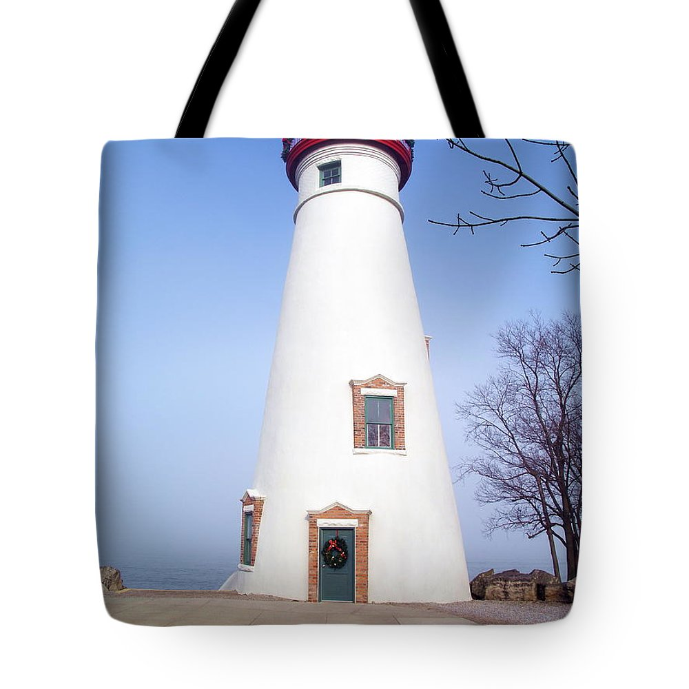 Lighthouse Tote Bag featuring the photograph Christmas On Erie by Melissa McDole